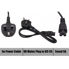 New Replacement Power Cord 3 Pin Cable Clover Leaf 1 Meter