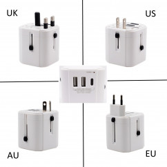 New Replacement 2 USB 1 Type-C Port Charger Universal Travel Adapter US/EU/AU/UK Multi Plug